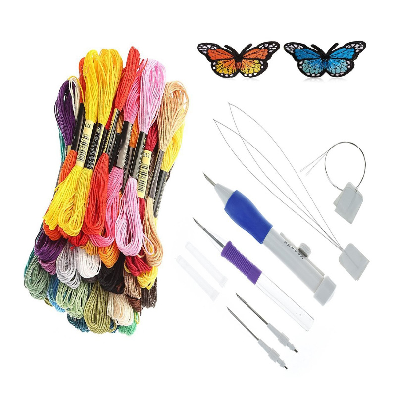Magic DIY Hand Embroidery Pen Patch Knitting Sewing Tool Kit Punch Needle KM88