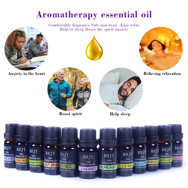 10ML Floral Fruity Essential Oil for Diffuser Aromatherapy Oil Mint Lemon Lavender Cinnamon Tea Tree Aroma Oil Help Sleep TSLM1
