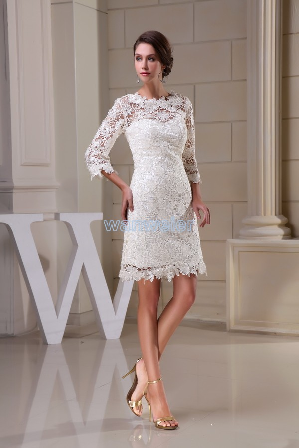 Livraison gratuite modeste 2014 nouveau design offre spéciale taille personnalisée grande taille robe plage à manches longues dentelle courte blanche robes de demoiselle d'honneur - 3