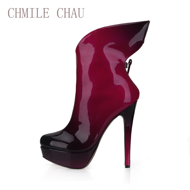 CHMILE CHAU Red Black Pearl Sexy Party Shoes Women Stiletto High Heels Platform Ladies Mid-Calf Boots Zapatos Mujer 3463BT-d4