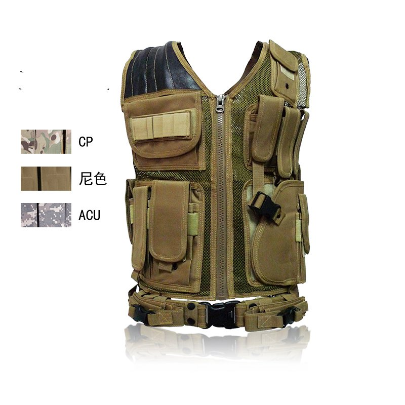 Multi-pocket tactical vest black male vest Outdoor male CS field equipment breathable mesh airsoft adults cs field game skeleton warrior skull paintball mask