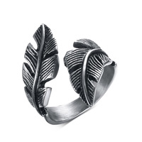 Antique Vintage Feather Ring For Mens Womens Stainless Steel Ring Black Fashionable Biker Jewelry