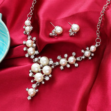 New Simulated Pearl Wedding Bridal Jewelry Set Classic Clear High Quality Crystal Charm Gift Gold Silver Plated White Pearls Set(China)