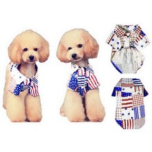 2016 New Arrives Fasion Pet Dog Cotton Shirt with National Flag Dog Vest Small Dog Clothes