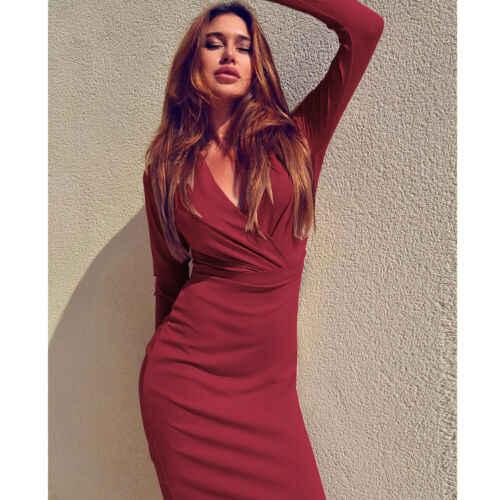 Осень лето сексуальные женские платья облегающее одноцветное красное элегантное офисное женское винтажное платье с длинным рукавом