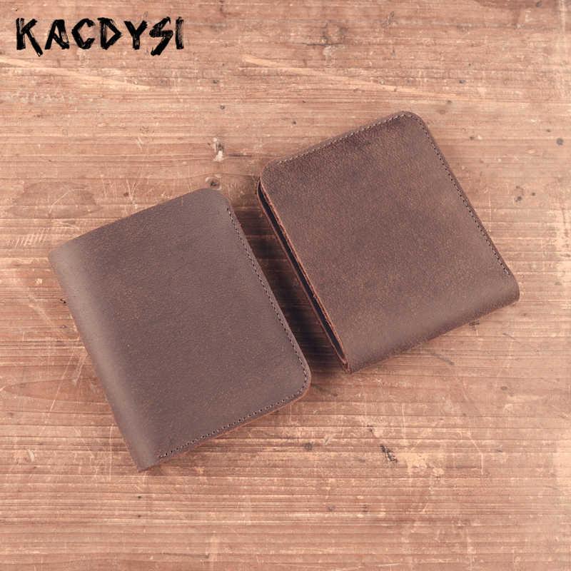 9ac0303d25c2 Ручной работы Винтаж Для мужчин кожаный бумажник 100% из натуральной кожи  роскошные Для мужчин двойные