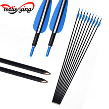 6/12/24PCS 30 Inch Spine1200 Fiberglass Arrow Blue White Feather For Outdoor Hunting Recurve Bow /Compound Archery
