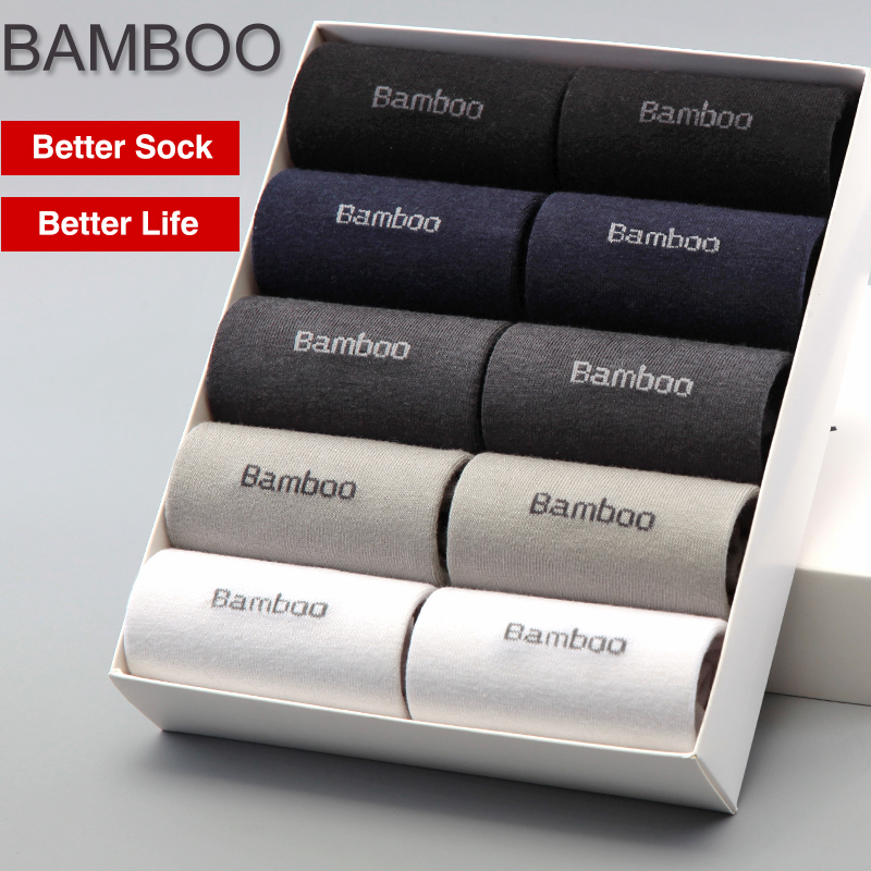 2018 Men Bamboo Socks Brand Guarantee Anti-Bacterial Comfortable Deodorant Breathable Casual Business Man Sock (10 Pairs / Lot)
