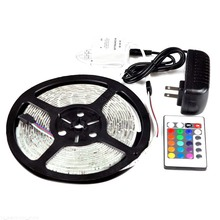 3528 RGB 5M 300 LED Waterproof Led Strip Flexible Light 60led/m SMD DC 12V+ 2A Power Supply + IR Remote Control