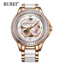 Burei Часы Женщин С Цветами 2016 Новый Дамы Наручные Часы Водонепроницаемый Керамическая Группа Сапфир Автоматические Механические Часы Горячие
