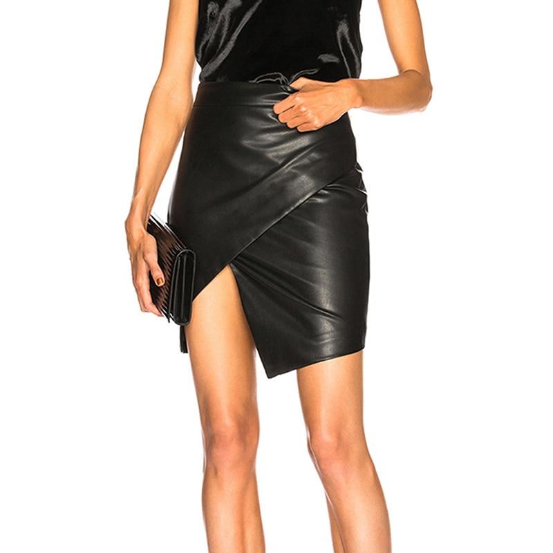 Women's Skirt Jupe Femme Spring Summer Short PU Leather Skirts Womens High Waist Slim Irregular Skirt For Women Saias