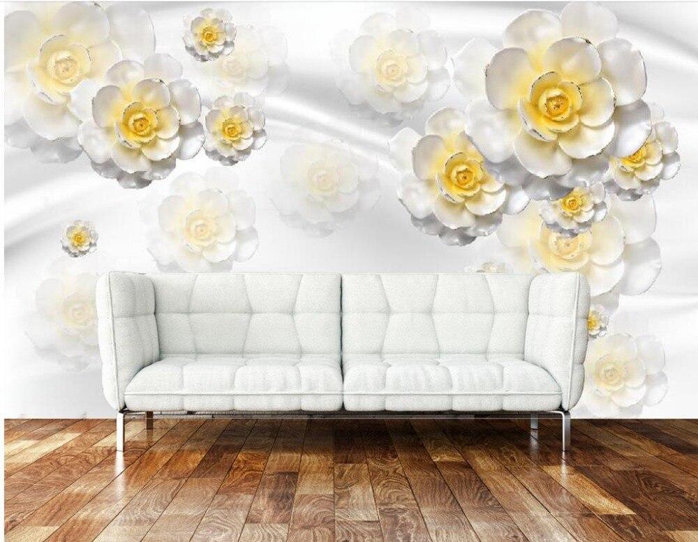 € 18.19 49% de réduction|3d papier peint pour chambre Jaune rose jade  sculpture fond fleur de mur papier peint personnalisé 3d papier peint dans  Fonds ...