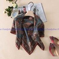 Paisley Printed 100 Silk Twill Scarf Bandana Hijab Foulard Square Silk Scarf Women Charming Silk Scarves