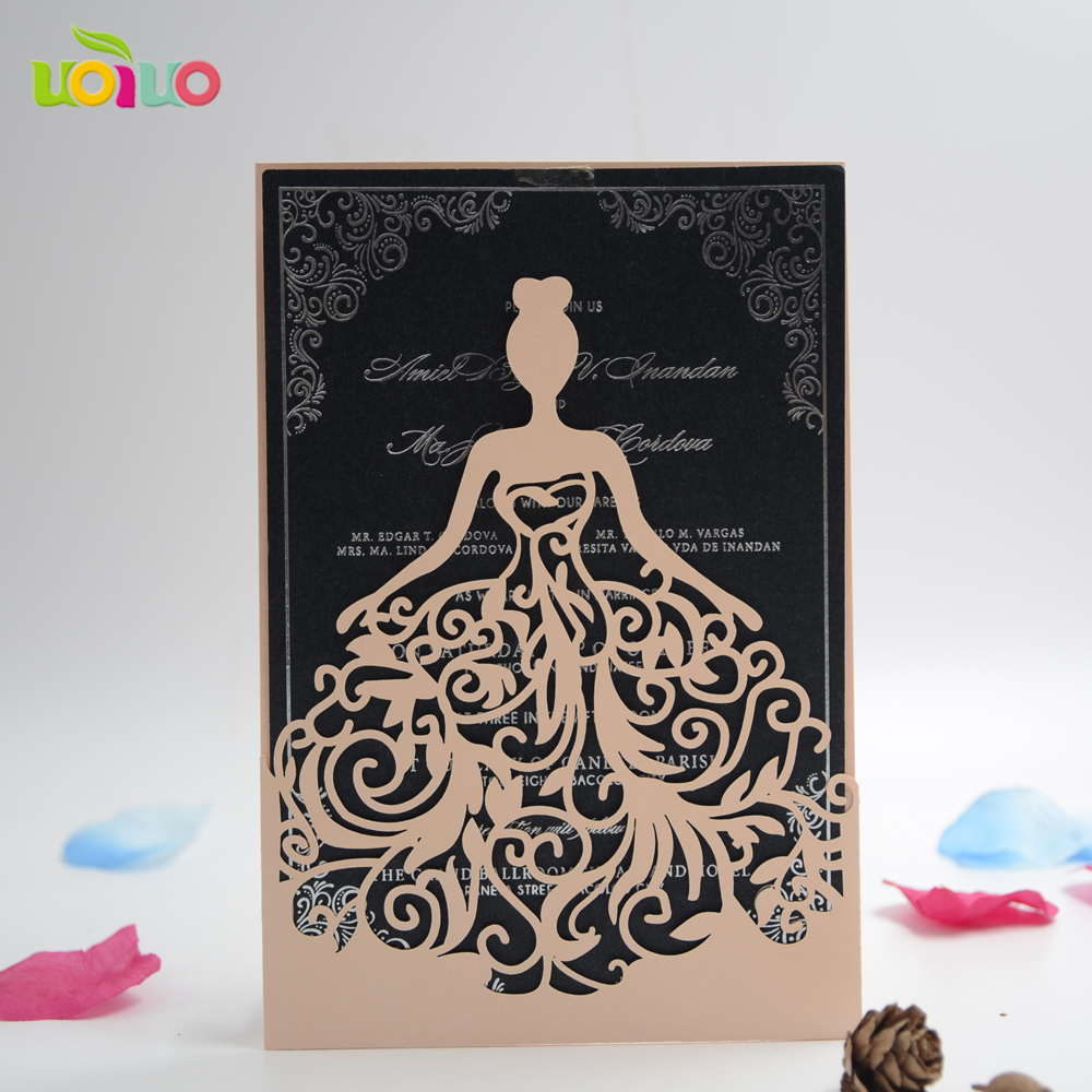 Best Sale Laser Cut Wedding Invitation Card Quinceanera Sweet 15 Party Invitation Card With