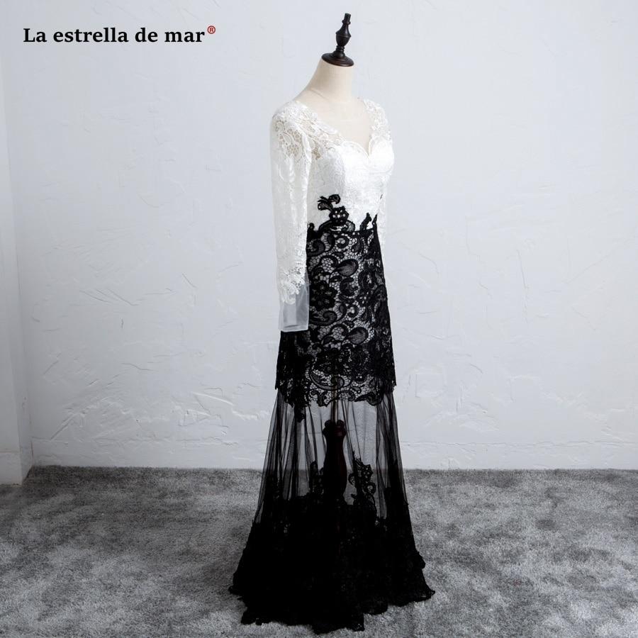 vestido de formatura longo2018 new V neck lace long sleeve sexy mermaid black white prom dress plus size evening gowns