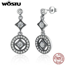 Hot Sale 925 Sterling Silver Vintage Allure Drop Earrings With Clear CZ For Women Original Authentic Luxury Jewelry Gift XCHS492
