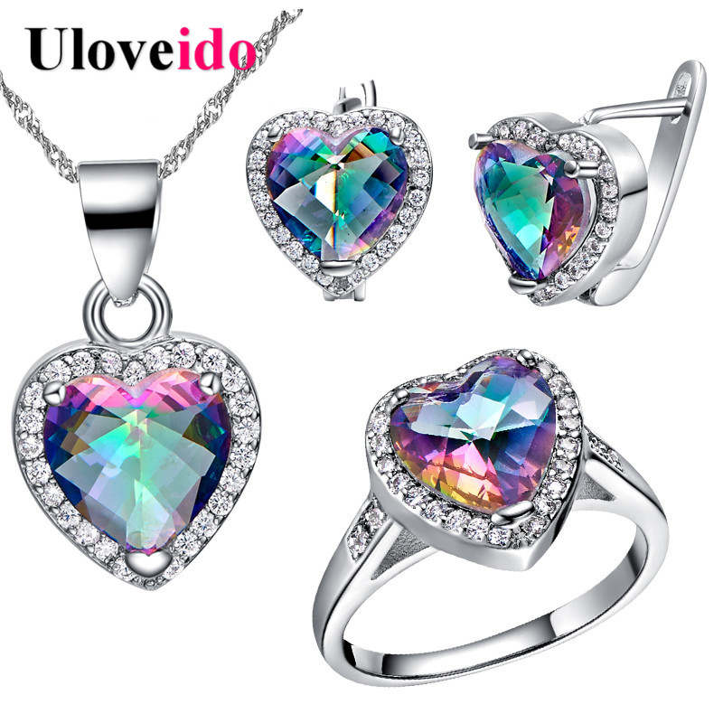 50% Off Colorful Crystal Silver Wedding Bridal Jewelry Sets Earrings Ring Necklace Heart Jewelry Set Bijoux Anel Uloveido T481