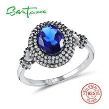 a84a013bf06ae Anéis de Prata para a Mulher Santuzza Azul Anel De Pedra De Cristal AAA Cubic  Zirconia Anéis de Prata Pura 925 Do Partido Moda J..