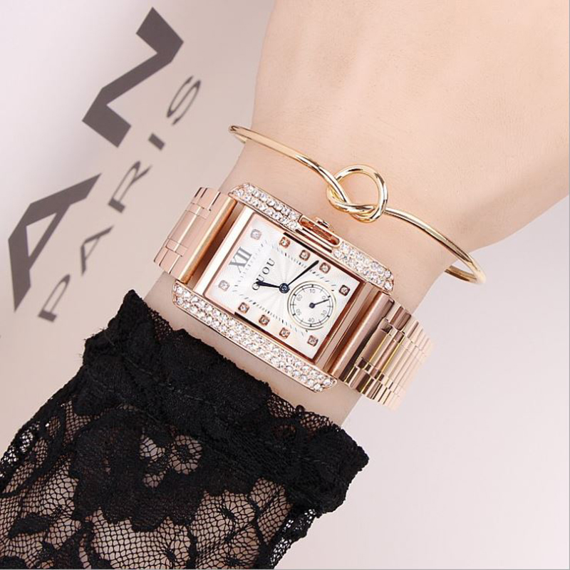 все цены на Fashion GUOU Women's Watches Luxury Ladies Watch Diamond Watch Rose Gold Bracelet Women Watches Clock relogio feminino saat