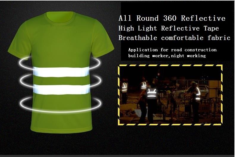 5324574b753e18 2017 Nowa Moda Lato Oddychające fluorescencyjne siatki odblaskowe T-shirt  krótki rękaw kombinezony ostrzeżenie bezpieczeństwa ruchu