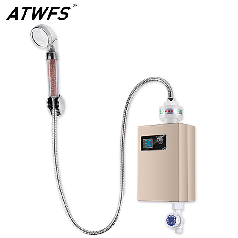 ATWFS Continuous Instant Tankless Water Heater Electric Flowing Instantaneous Shower Hot Water Heater Bathroom Free Sink Shower