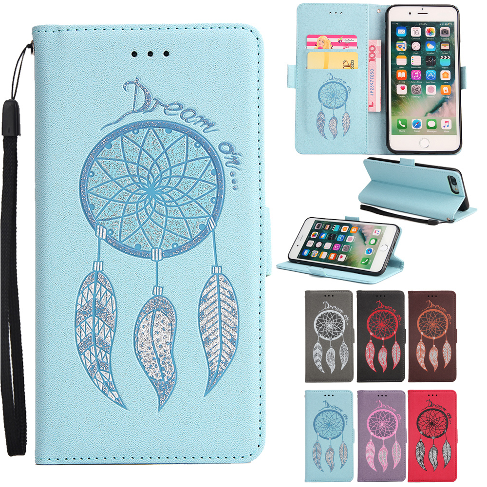 Wind Chime Flip Phone Wallet Case Pattern Premium PU Leather+Soft TPU For Apple Iphone 7/8 Plus & Kickstand Card Slots Design
