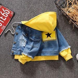 Image 5 - Kot Ceket Kız Çocuklar 2019 Bahar Erkek Hoodies Ceket Denim Uzun Kollu Giyim Çocuk Rüzgarlık 1th 2 3 4 5 7 yıl