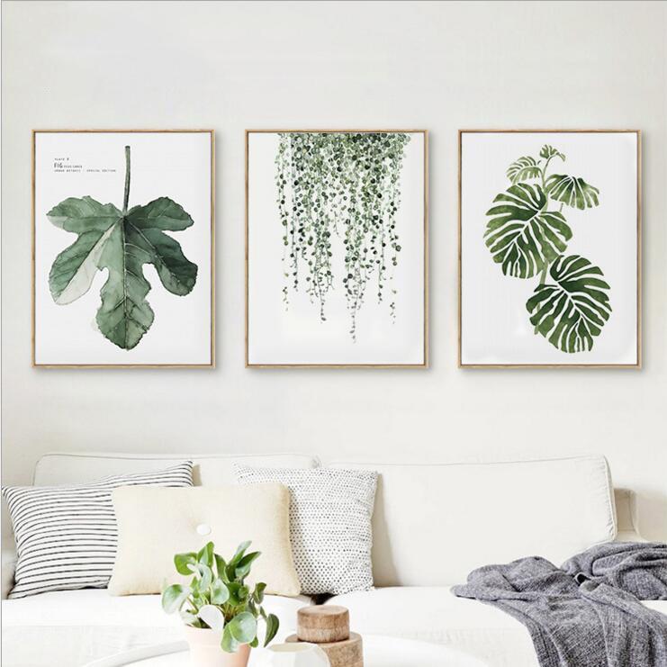 Buy Framed Summer Simple Watercolour Green Tree Leaves Wall Art Set Hd Canvas