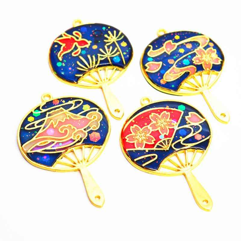 4Pcs Mt Fuji Style Fans Frame Open Bezel Setting UV Resin Craft Jewelry Making Tool Accessories