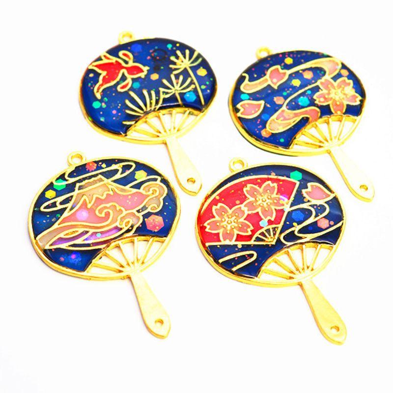 4Pcs Mt Fuji Style Fans Frame Open Bezel Setting UV Resin Craft Jewelry Making Tool Accessories