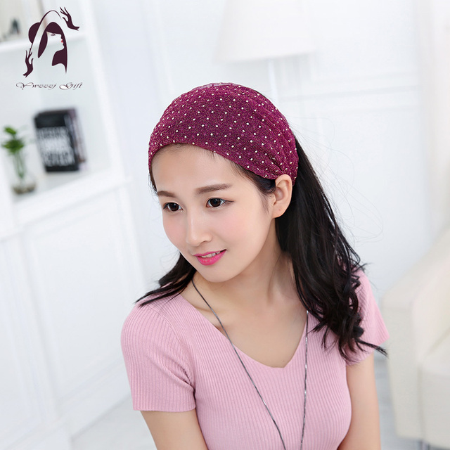 Promotion Casual Women Elastic Chiffon Headband Coconut Buttons Headwear Wide Stretch Ladies Hair Accessories