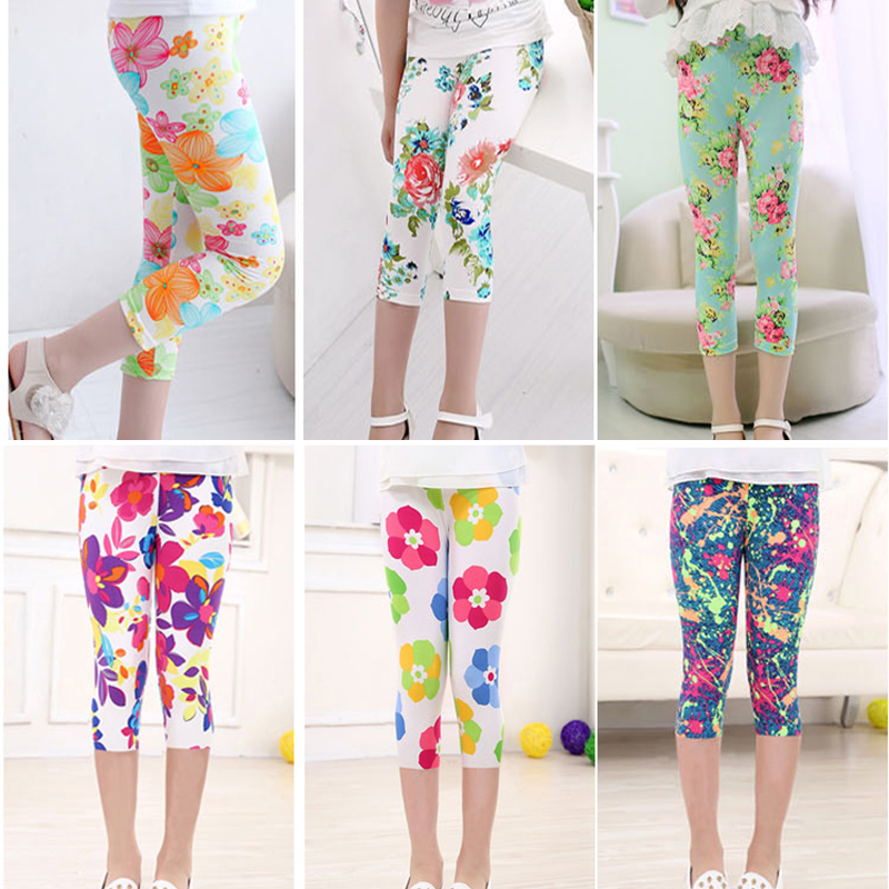 3-10years Girls Cropped Trousers Floral Print Flower Kids Calf Length Skinny Pants Stretch Leggings Children All-matches Bottoms 3