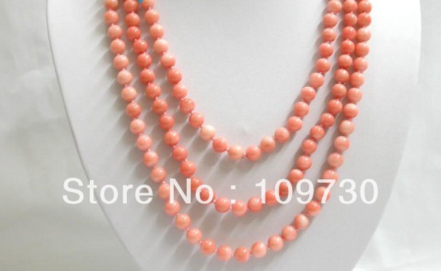 "Jewelry 0011877 long 70"" 8mm round nature pink coral beads necklace"