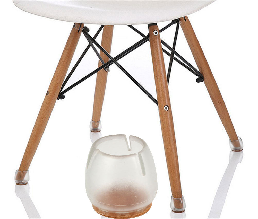 8 round bottom square opening silicone chair leg caps feet pads furniture table covers wood floor protectors transparent