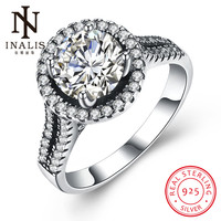 INALIS New Collection 925 Sterling Silver Round Rings Clear CZ Cute Romantic Ring Fine Jewelry Gift