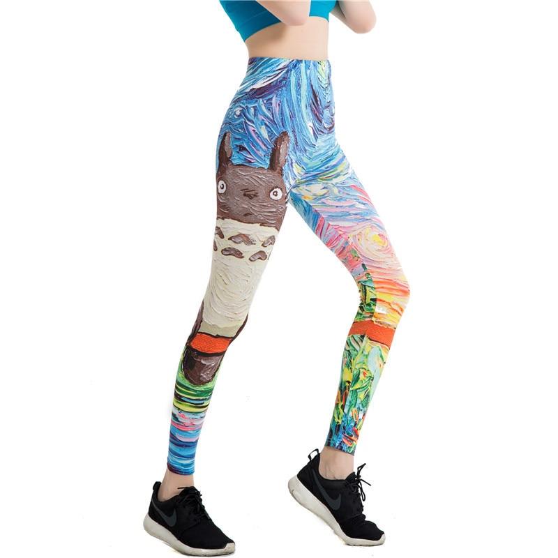 Godier Womens Legging Mandala Mint Print Fitness Quick Dry Leggin High Elasticity Legins Pants Civet Cat Cartoon Women Legging