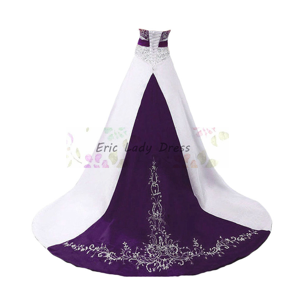 Buy white and purple wedding dresses plus for Wedding dress with purple embroidery