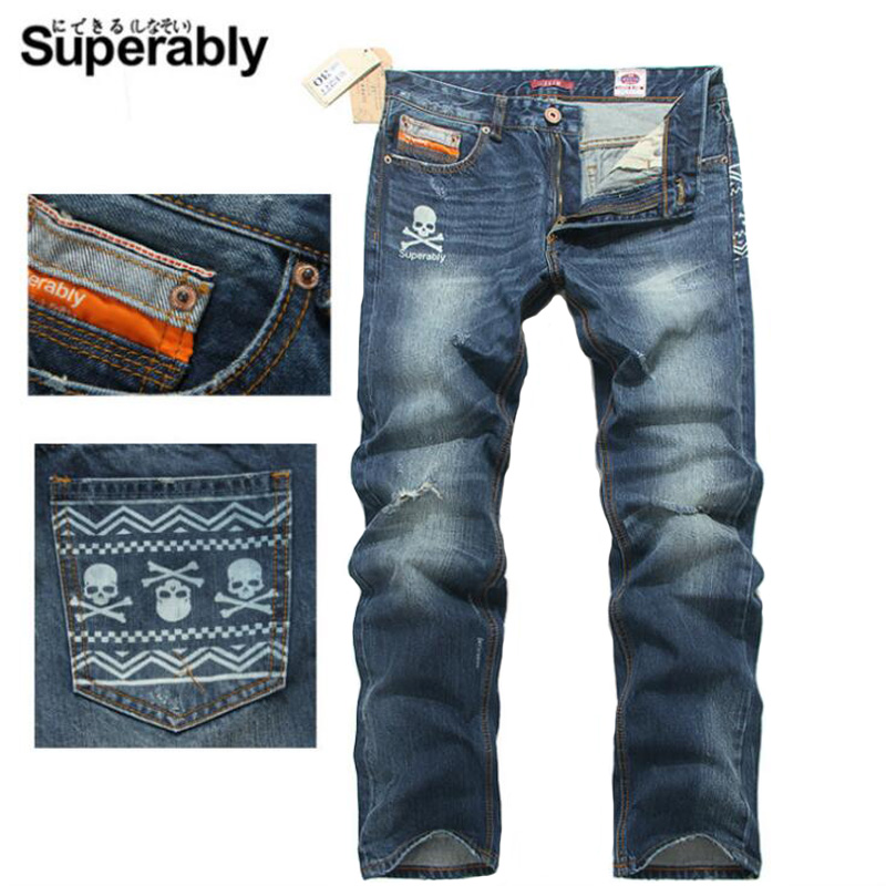 High Quality Blue Color Fashion Men Jeans Straight Skull Embroidery Ripped Jeans Men Brand Youth Casual Pants Street Biker Jeans 9 6v 2000 mah li ion battery power tool dcb125 de9036 9 6v 2000 vhj97 cp0 06