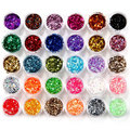 45 pcs holesale New  Colors Acrylic Hexagon Sparkly Sequin Glitter Nail Art Tips Design Tool Decoration