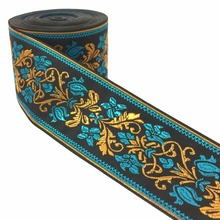 ZERZEEMOOY 2 5cm 10yard/lot High quality Woven Jacquard Ribbon black background blue and yellow flowers pattern MZZD17032801