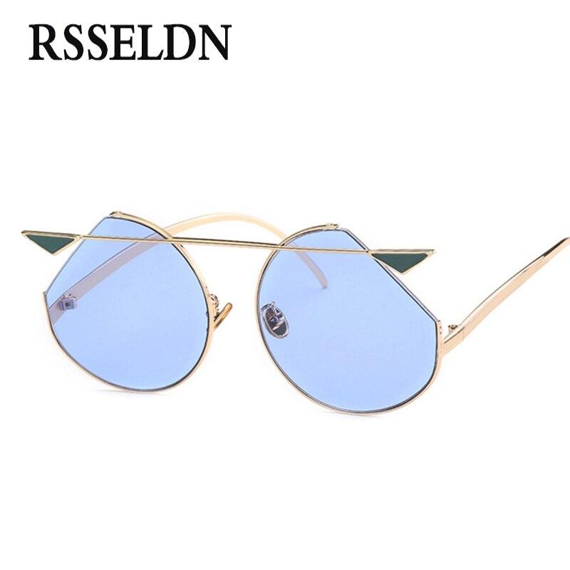 RSSELDN 2018 Cat Eye lunettes de Soleil Femmes Bleu Vert Jaune Océan Vintage lunettes de Soleil Rondes Hommes Métal Vintage Rétro UV400 De Mode