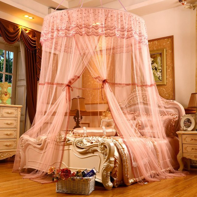 High Grade Elegant Lace House Bedding Netting Canopy Double Layer Round Dome Bedding Mosquito Net 4 & High Grade Elegant Lace House Bedding Netting Canopy Double Layer ...