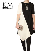 Kissmilk Plus Size New Fashion Women Loose Fit Black And White New Women T Shirt Big