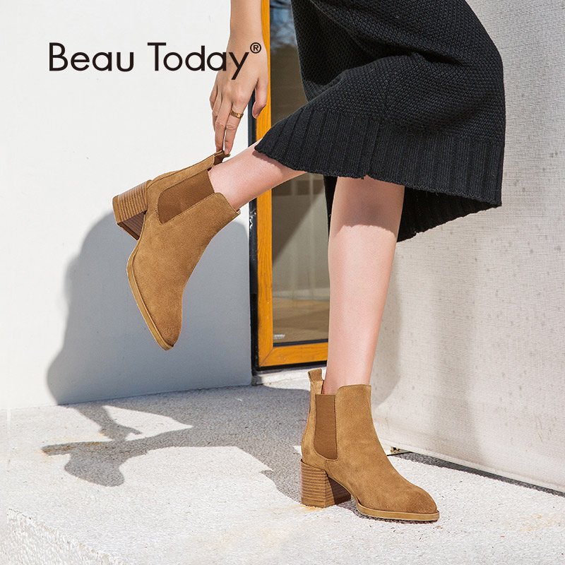 BeauToday Women High Heel Chelsea Boots Cow Suede Leather Pointed Toe Elastic Band Autumn Ladies Ankle Handmade 03324