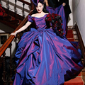 Lindo Roxo Tafetá Do Vestido de Casamento do Assoalho-Comprimento de trem Fora Do Ombro Bola Vestido de Noiva Vestidos De Novia Princesa vestido de Baile
