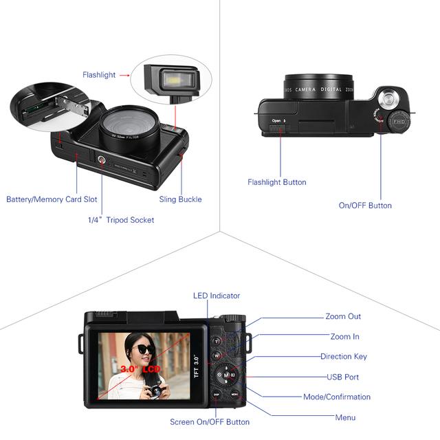 Andoer CDR2 3.0″ Rotatable Digital Camera 1080P 24MP Video Camera DV Anti-shake Recorder Camcorder w/ Wide-angle Lens+UV Filter