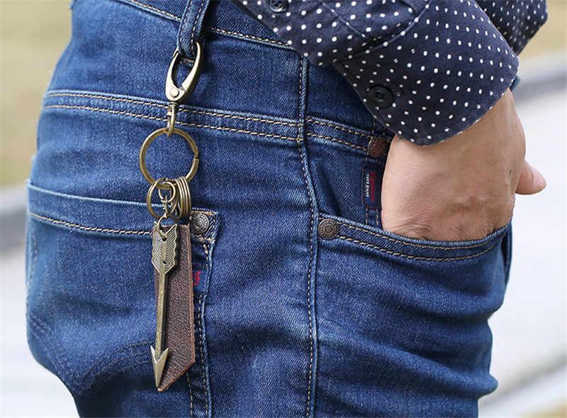 ZORCVENS חדש אופנה אמיתי עור חץ keychain בציר נחושת פאנק בציר מפתח שרשרת