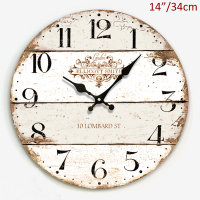 Round Shaped Antique Light Wood Accents with Arabic Numerals Printed 14 inches Home Decor MDF Wall Clock