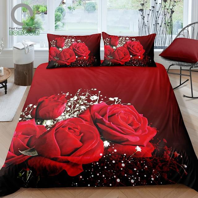 BOMCOM 3D Digital Printing Close up  Valentines Day Red Roses Bouquet Gypsophila Paniculata Wedding Bedding Set 100% Microfiber