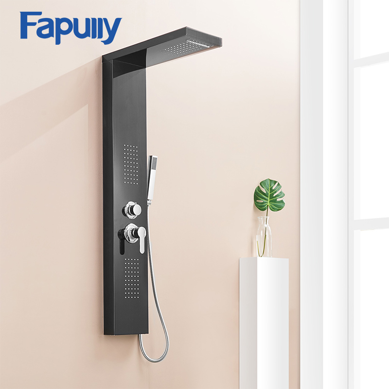 Fapully noir Nickel brossé dans le mur salle de bains ensemble de douche de pluie panneau de douche système de Massage de pluie robinet avec Jets douche à main